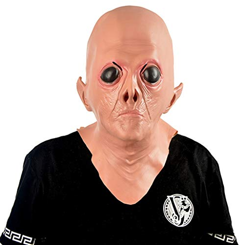 Halloween Weihnachten Maske Halloween Big Eye Alien Maske Cos Erwachsenen männlichen Horror Latex Maske Prom Performance Simulation Kopfbedeckungen Masken (Color : Brown, Size : 29CM/11inch) (Vampir Männlichen Make-up)