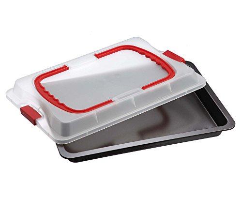 Dr. Oetker Backblech 3in1 mit Transporthaube Ofenblech zum Backen, aufbewahren & transportieren, als Pizza-, Auflauf- & Kuchenblech, Maße: 42 x 29 cm