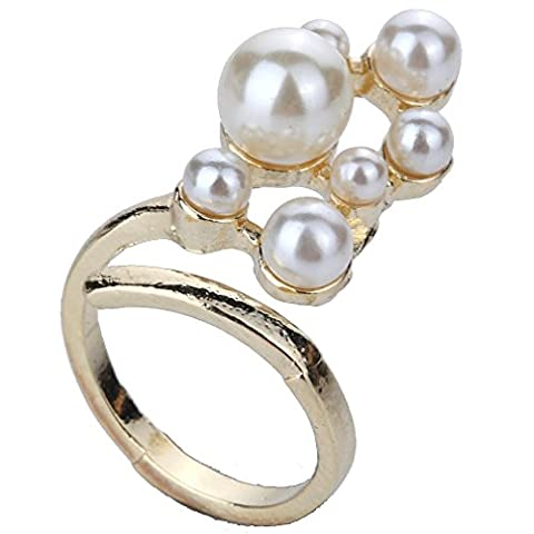 YAZILIND Crafted Bohemian Style Gold Plated Elongated Full Pearl Fingertip Ring for Women