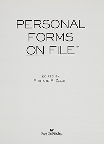 Personal Forms on File  2005 Update: More Than 110 Indispensable Forms for Organizing Personal Records (Facts On File Personal Forms) -