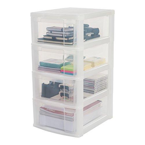 IRIS, Schubladenschrank / Schubladenbox / Rollwagen / Rollcontainer / Werkzeugschrank \'New Chest\', NMC-004, mit Rollen, Kunststoff, frostweiß / transparent, (B x T x H) : 30 x 38 x 62 cm