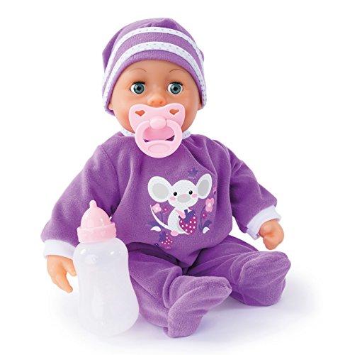 Bayer Design - Muñeca bebé 38 cm, Las Primeras Palabras, con chupete y botellín, color lila (93824AH)