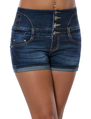 Damen Jeans Shorts Hot Pants kurze Hose Hochschnitt Hoher Bund Stretch Denim No 15638, Farbe:Blau;Größe:42 / XL