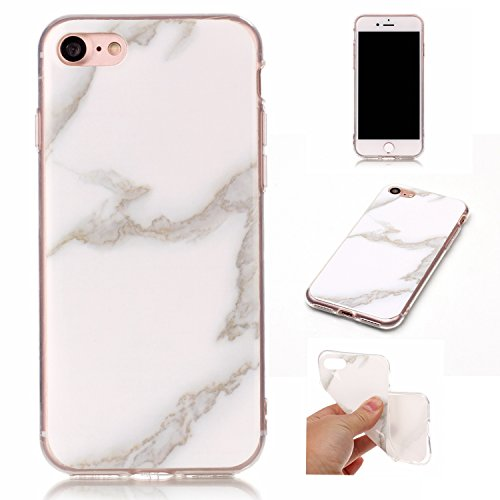 Ecoway Patrón de mármol TPU Funda Case for iPhone 7 (4,7 zoll) , Ultra Thin Carcasa Anti Slip Soft Bumper Scratch Resistant Back Cover Crystal Clear Flexible Silicone Case Parachoques Carcasa Funda Bumper - Jade blanco