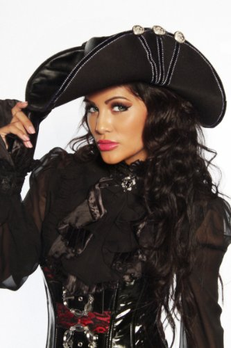Kostüme Pirat Dame (Hut Piraten-Hut schwarz, Größe)