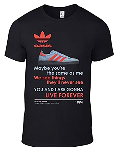 OASIS Live Forever T Shirt with image of Adidas Manchester Trainer - ALL SIZES Mens / Unisex Band Tee in BLACK (small)