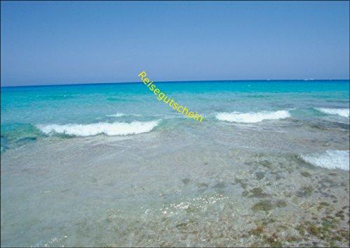 Sommer Reise Gutschein (blanko) mit Meeres Wellen Motiv: Reisegutschein • auch zum direkt Versenden mit ihrem persönlichen Text als Einleger.