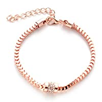 Cngstar 3 Color Bohemian Women Ankle Bracelet Strand Double Blue Bead Round Pendant Combination Ankle Bracelet Foot Chain Jewelry (Rose Gold)