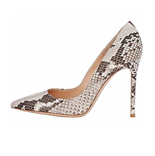EDEFS Damen High Heel Schuhe Sexy Pfennig Schlangen Pumps Mehrfarbig Größe EU36 (4-zoll-sexy)
