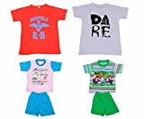 Indistar Boys Round Neck Cotton T-shirt And Pure Cotton Baba Suit ( (Pack of 2 T-shirt And Pack of 2 BaBa Suit )-(Assorted Color/Print )-Multicolor-6- Amazon