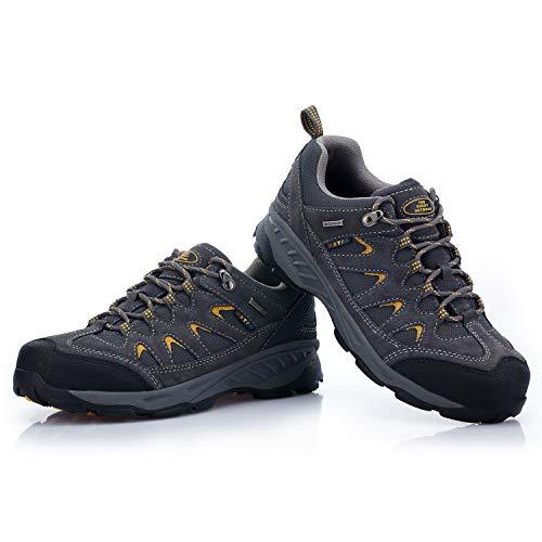 TFO Trekkingschuhe & Wanderschuhe Männer Mid Waterproof Outdoor Schuhe mit Atmungsaktiver Sohle, Dunkelgrau(Gelb), 40 EU(Hersteller-GRÖSSENTABELLE IM PRODUKTBILD BEACHTEN)