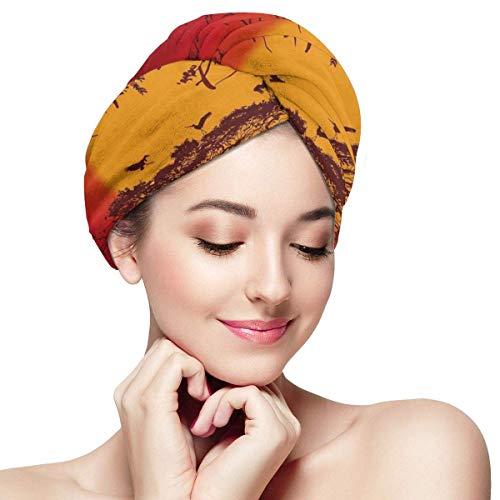 Xukmefat Schöne Afrika-Wand-Haar-trockene Tuch-Verpackung Schnelltrocknender Anti-Frizz Frauen-Magie-Haar-Kopf-trockener Hut mit Knopf -