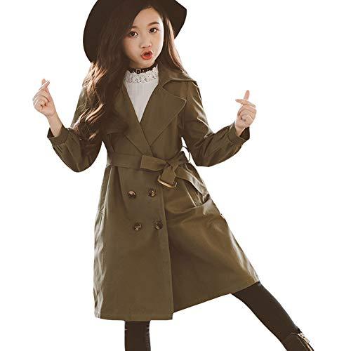 SXSHUN Mädchen Windmantel Windjacke Trenchcoat Mode Outerwear Frühling Herbst, Armee grün, 146(Etikettengröße:150) Armee-trenchcoat