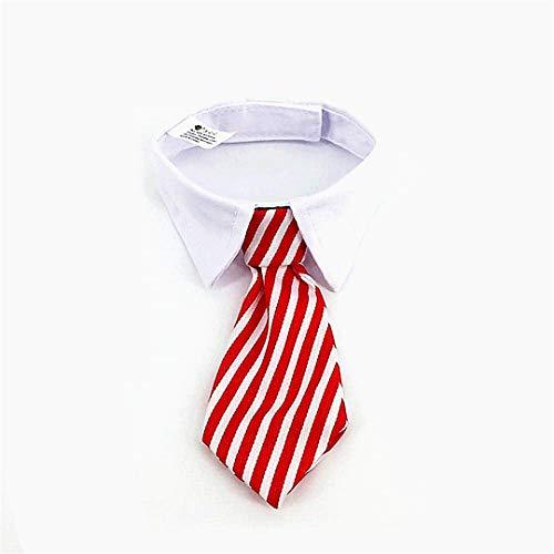 Katzen-Hundekrawatte Pet Kostüm Krawatte Kragen für kleine Hunde Welpen Grooming Zubehör Roter und weißen Streifen 1PC