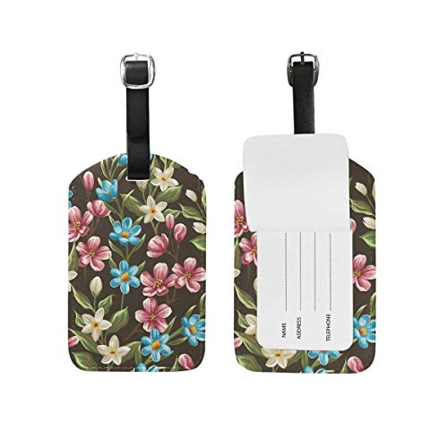 Kofferanhänger Spring Pattern Flower Travel Bag ID Card Label Tag PU Leather for Baggage Suitcase(2Pack) 89tAGS1565 -