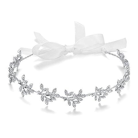 BABEYOND Rhinestones Crystal Wedding Bridal Headpiece Headband for Women Prom Hair Accessories Crystal Wedding Headdress with Austrian Crystal Pearls Floral Leaf and Lace