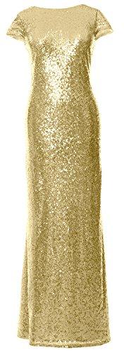 MACloth - Robe - Trapèze - Manches Courtes - Femme doré clair