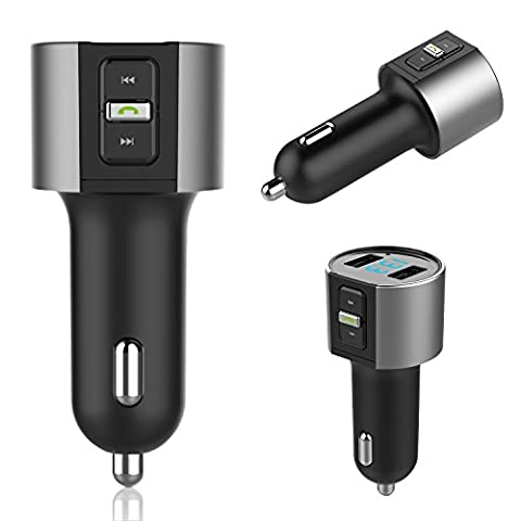 Transmetteur FM Bluetooth, Laybomo Car Bluetooth FM Transmitter Wireless Transmetteur Voiture Sans Fil MP3 Player Radio Adapter Transmetteur Bluetooth FM with 5V 3.4A Chargeur USB Voiture