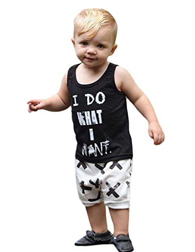 Tank-top Strampelanzug (Smile YKK Sommer Herbst Baby Kind Junge Aermellos Tank Tops Oberteil Mit Hosen Sets Tops Shirt +short Schwarz 100)