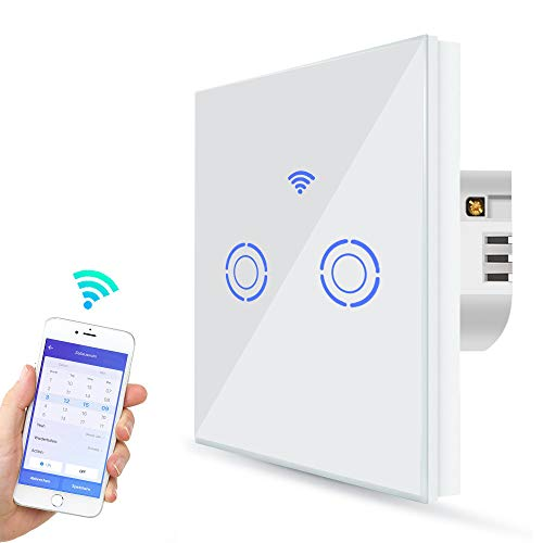 Smart Lichtschalter, Alexa Lichtschalter WLAN 1 Weg 2 Gang Wandschalter Sprachsteuerung mit Amazon Alexa, Google Home und IFTTT, Glas Touchscreen Zeitschaltuhr, Überlastungsschutz (2 Gang)