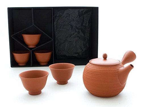 Gyokko - Japanisches Tee-Service 6-teilig. Tokoname TOBIKANNA SHU mit 5 Tee-Schalen. Rot, Handmade auf der Töpfer-Scheibe, integriertes Keramik-Sieb