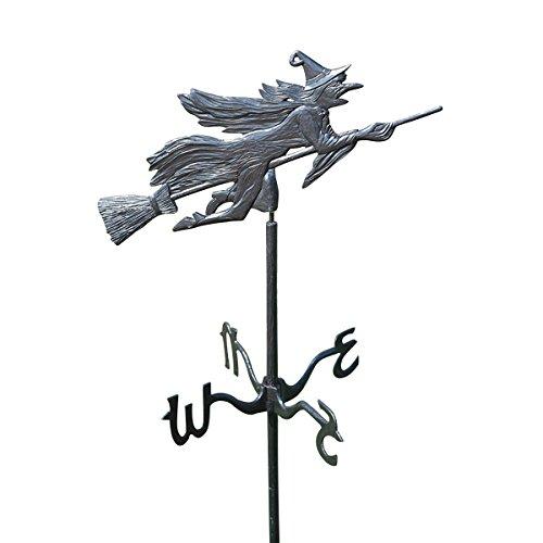 Design Toscano Böse Hexe im wehenden Wind Wetterfahne aus Metall, Gartenspieß, 30,5 x 58,5 x 167,5 cm
