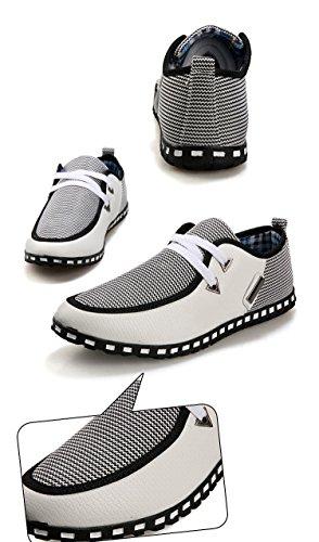SODIAL(R) Maenner Segeltuch intelligente beilaeufige Spitze Schuhe auf gesponnenem Fahren - Weiss + Grau 39 weiss + grau