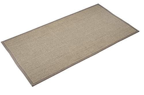 floor factory Alfombra Natural de Sisal Taupe Gris 80x150 cm Borde de algodón 100% Fibra Natural