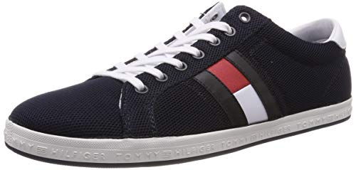 Tommy Hilfiger Herren Essential Flag Detail Sneaker, Blau (Midnight 403), 42 EU (High-top-mode-schuhe Männer)