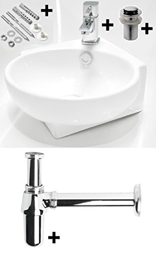 Albany Small Compact Cloakroom Basin Bathroom Sink Round Square Corner Wall Hung 360 X 400 + York Mini Mixer Tap + Slotted Click Clack Waste & Chrome Plated Brass Bottle Trap, Extension Tube (ALBANY-WH+Y07+BT01)