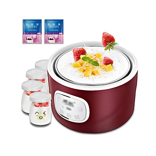 Joghurtbereiter,Joghurt-Maker,1 Liner + 4 Tassen, Hausgemachter Joghurt- / Natto- / Reiswein, Intelligente Gärung Bei Konstanter Temperatur, 1 L Großes Fassungsvermögen