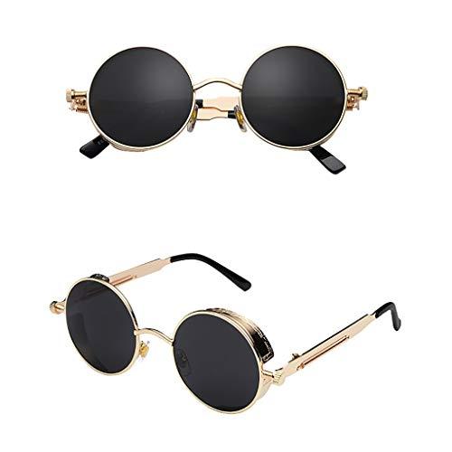 fazry Vintage Brille Herren Damen Runde quadratische verspiegelte Brillen Outdoor Sport Sonnenbrille Gr. Einheitsgröße, C