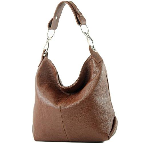 Leder-braun-schulter-handtaschen (modamoda de - T168 - ital Schulter-/Umhängetasche aus Leder, Farbe:Braun)