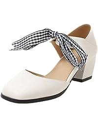 Kaizi Karzi Mujer Dulce Punta Cerrada Sandalias Tacón Ancho Zapatos De Vestir