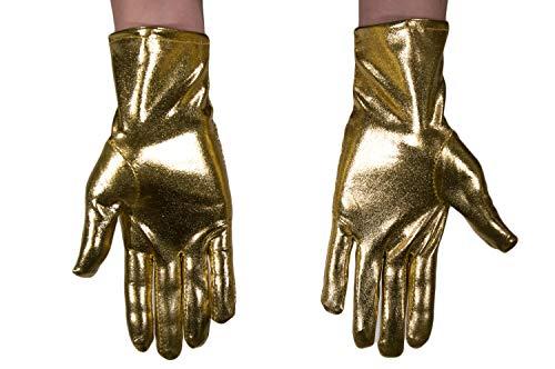dressmeup - K0802G-GOLD Handschuhe Damen Herren Karneval Halloween Metallic Look Glänzend Gold Roboter SciFi