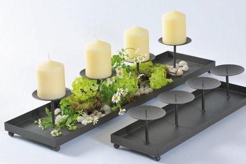 Kerzenständer mit Dorn, Kerzenleuchterschale Wolga in antikbraun aus Eisen, für 4 Kerzen, 1 Stück ca. 60 cm x 15 cm x 8 cm