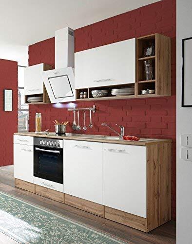 respekta Küchenzeile Küche Küchenblock Einbauküche Komplettküche 220 cm Wildeiche weiß inkl. Geräte