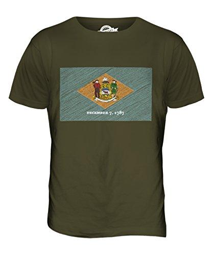 CandyMix Bundesstaat Delaware Kritzelte Flagge Herren T Shirt Khaki Grün