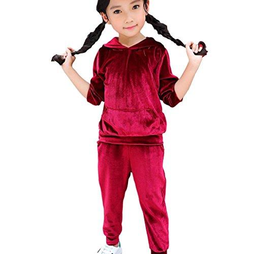 Janly Mädchen-langes Hülsen-mit Kapuze warmer WinterHoodie-Sweatshirt Kinder scherzt Oberseiten + Hosen (4T, Wein) -