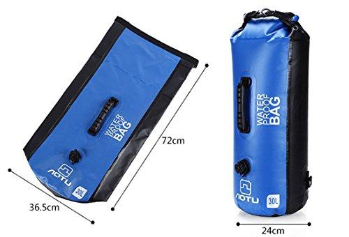 Grande capacità 30l zaino impermeabile da esterni boating hiking campeggio arrotolabile, sacca con tracolla regolabile 2, Army Green Blue
