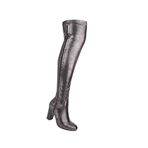 Damen Overknee-Stiefel | Frauen-Stiefel kniehohe-Stiefel | Knie-Schuhe Lederoptik Schlupf-Stiefel | Langschaft-Stiefel over knee Schlangen Optik | Grau Hoch Kunstleder Block-Absatz Größe 39 (Stiefel Echte Schlange)