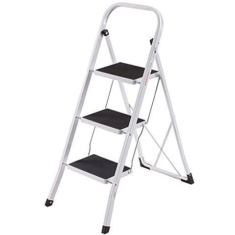 VonHaus Schwerlast Klappbare Transportfähige 3 Stufen Leiter Stehleiter Stahl