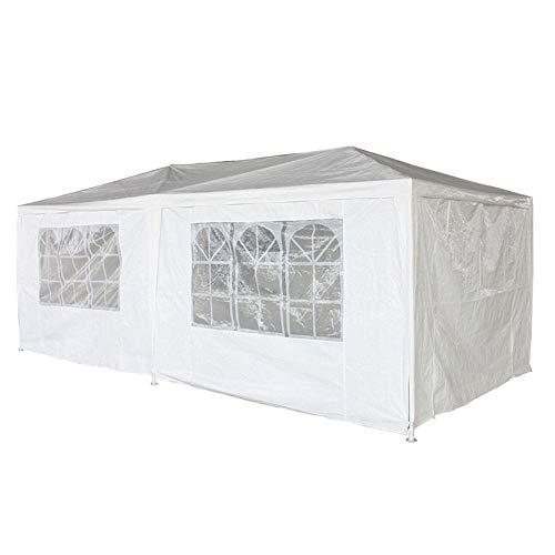 Aufun Pieghevole Gazebo da Giardino Impermeabile 3x6 m Bianco Pavilion con 6 pareti Laterali Padiglione Tenda in polietilene Birra Porta con Cerniera per Festa di Nozze da Mercato da Picnic