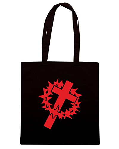 T-Shirtshock - Borsa Shopping FUN1107 crown cross die cut vinyl decal sticker 82077 Nero
