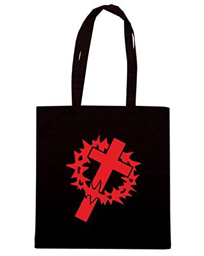T-Shirtshock - Borsa Shopping FUN1107 crown cross die cut vinyl decal sticker 82077 Nero