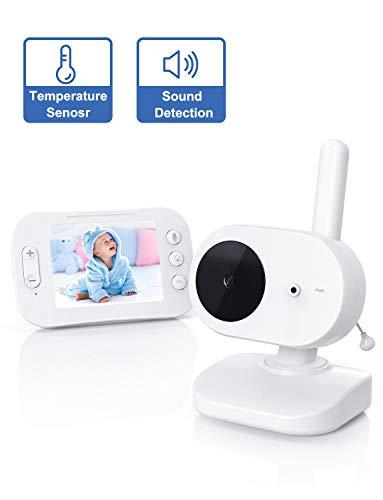 YUNDOO Baby Monitor con LCD schermo da 3.2 '' Visione Notturna, Citofono, Rilevamento della Temperatura, Zoom Avanti, Modalità Risparmio Energetico/Modalità VOX per Bambino/Anziano/Animale Domestico.