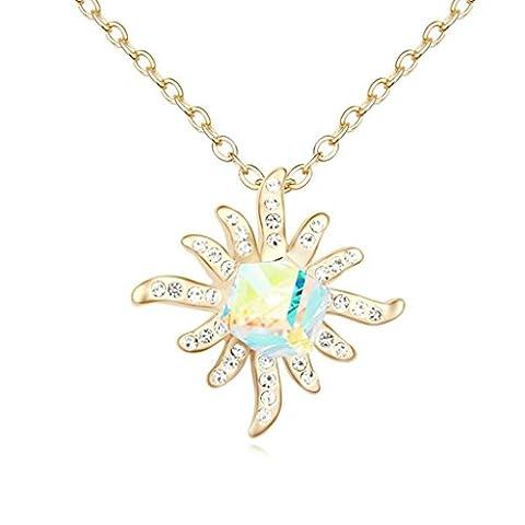 Daesar Gold Plated Women's Flower Cubic Zirconia Pendant Necklace for Women