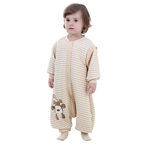 Gemini fairy fairy cotone baby sleeping nest infant wearable coperta con gambe separate e maniche smontabili (xl, beige)