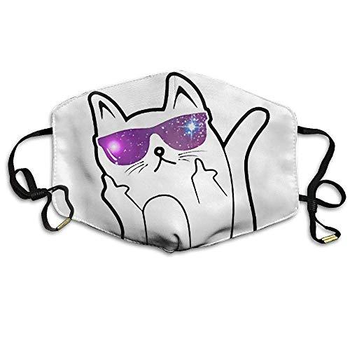 Mittelfinger-Sonnenbrille Cat Wiederverwendbare Anti-Staub-Gesichtsmaske, staubdichte, atmungsaktive Außenmaske aus Polyester
