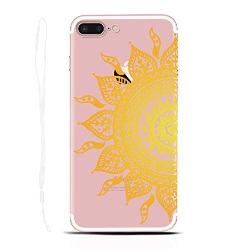 Yokata iPhone 7 Hülle Transparent Case Soft Slim Flexible Silikon TPU Bumper mit Durchsichtig Hart Backcover Clear Ultra Dünn Schlank Schön Handyhülle Premium Kratzfest Schutzhülle für iPhone 7 (4,7 Z Sonne Blume